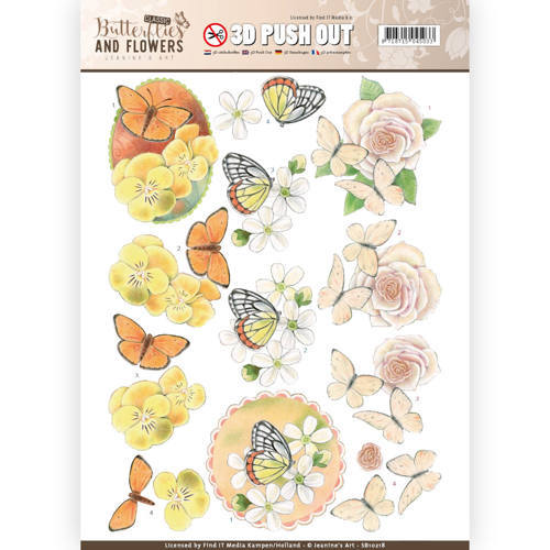 Classic butterflies and flowers